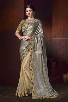 Online shopping for designer saree.Shop this fancy fabric and net beige and grey designer half n half saree. Saree Wedding, Wedding Wear, Bridal Sarees, Wedding Dress, Indian Dresses, Indian Outfits, Indian Sarees, Silk Sarees, Grey Saree