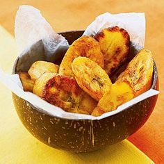 For a sweet treat, slice up moderately ripe bananas or plantains (like the Plantain Chips shown here) and either slow roast them or lightly sauté them for a crispy exterior and fruity flavor.   CookingLight.com
