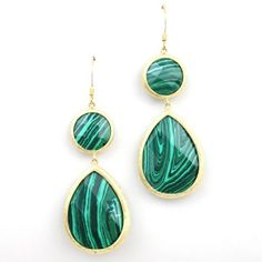 """As seen on ShopDesignSpark.com  -Gold plated brass, malachite mineral stone  -Approx. 2.5""""L, 1""""W  -Imported"""