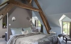 illustration parental suite under roof Kids Bedroom, Master Bedroom, Cosy Bedroom, Room Kids, Small Fireplace, Attic Spaces, Bedroom Layouts, Ikea, Sweet Home