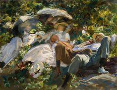 Group with Parasols, Siesta (1904) by John Singer Sargent