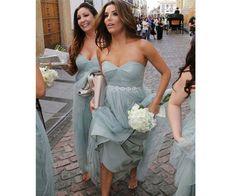 long  tulle  cheap bridesmaid dress, sweetheart gray blue popular bridesmaid dress,BD17204