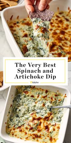 Dip Recipes 366199013454114156 - The Best Spinach Artichoke Dip Recipe Reuben Sandwich, Junk Food, Low Carb Low Calorie, Sour Cream, Best Spinach Artichoke Dip, Best Spinach Dip, Artichoke Recipes, Frozen Spinach, Appetizer Recipes