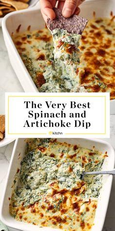 Dip Recipes 366199013454114156 - The Best Spinach Artichoke Dip Recipe Baked Spinach Artichoke Dip, Creamed Spinach, Healthy Spinach Artichoke Dip, Best Spinach Dip, Artichoke Recipes, Reuben Sandwich, Junk Food, Low Carb Low Calorie, Vegetarian Recipes