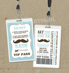 12 Mustache Bash VIP PASS Baby Shower Birthday Party Invitations Invites Favors