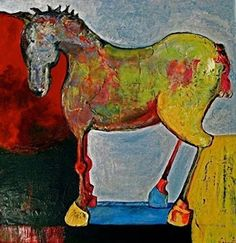 "Mixed Media Artists International: Mixed Media Horse Art ,Equine Painting ""Toy Horse""..."