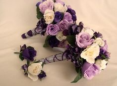 Bride Bouquet Wedding Flowers Purple Lavender silk by AmoreBride, $115.00
