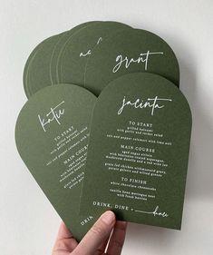 green and white wedding menus