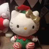 HELLO KITTY TY BEANIE BABY CHRISTMAS EDITION SHE HAS STRIPE SOCKS GOLD BOW AND On sale nowHER SANTA HAT