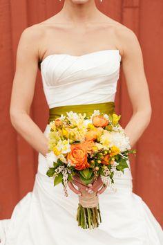 yellow and orange wedding bouquet by Melanie Benson Floral