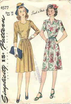 1940s Simplicity 4577 FF Vintage Sewing Pattern Misses One