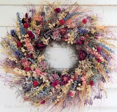 New seasonal additions to this lovely dried floral wreath are freshly dried ivory gardenias and deep pink wild roses! The fields and meadows Dried Flower Wreaths, Lavender Wreath, Dried Flowers, Spring Door Wreaths, Autumn Wreaths, Easter Wreaths, Wildflower Centerpieces, Dried Flower Arrangements, Flower Factory
