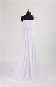 Floral One Shoulder Empire Waist Chapel Train #Wedding #Gown Style Code: 08107 $128