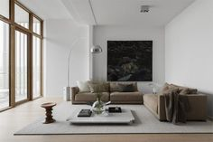 This newly built home has such clean lines and a very minimal decor, yet because of all the wooden surfaces on the floors, doors, windows and furniture, this space looks very cozy and inviting as well. I like the black … Continue reading → Minimalist Home Interior, Minimalist Living, Minimalist Bedroom, Living Room Inspiration, Interior Inspiration, Interior Ideas, Room Interior, Home Interior Design, Exterior Design