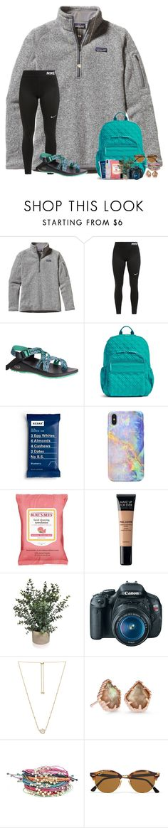 """""""~i swear he makes me so happy☺️~"""" by taylortinsley ❤ liked on Polyvore featuring Patagonia, NIKE, Chaco, Vera Bradley, Burt's Bees, MAKE UP FOR EVER, Canon, Kendra Scott, Pura Vida and Ray-Ban"""