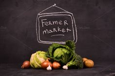 vegetables in fermer market by Victoria Rusyn Shop on Creative Market