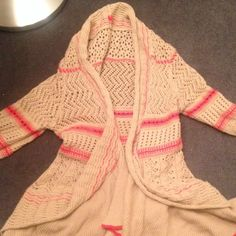 Free People Cardigan Tan cardigan with coral stripes. So cute and perfect for spring! Free People Sweaters Cardigans