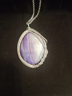 Wire Wrap Purple Striped Agate Necklace Pendant/ Wire Wrap Necklace/ Agate Pendant/ Wire Wrapped Necklace/ Wire Wrapped Jewelry by ShiningCrystals on Etsy