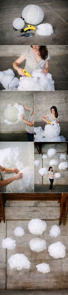 DIY Clouds - for a photoshoot, or a kids room / nursery . Cloud Lamp, Diy Cloud, Glow Cloud, Cloud Lantern, Creation Deco, Blog Deco, Unicorn Party, Unicorn Birthday, Backdrops