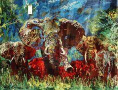 Leroy Neiman S/N SERIGRAPH CHARGING BULL Elephant Scene : Lot 380E
