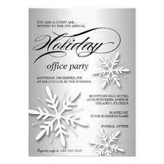 Corporate Holiday Party Invitation With Snowflakes #christmas#cards