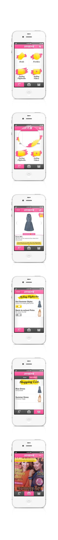 Seventeen Shopping Insider App (proposed) by Paul Gates, via Behance *** A companion app for Seventeen magazine.