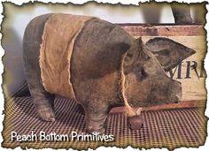 ePattern Dem Hogs Primitive Pig Bowl Fillers by PrimsbyDenise Primitive Sheep, Primitive Doll Patterns, Primitive Folk Art, Primitive Christmas, Country Primitive, Primitive Decor, Country Christmas, Primitive Stitchery, Primitive Homes