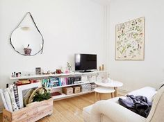 Lösning för böcker/tv vardagsrum?