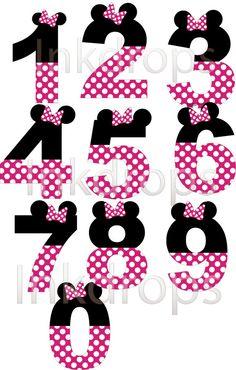 Minnie Mouse inspirado en letras y números Rosa por InkDropsDigital 7d16982fc06