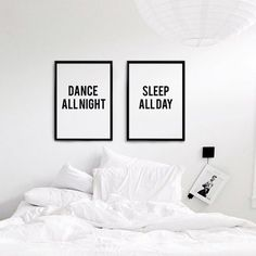 Dance All night/ Sleep All Day Set of 2 Wall Art, Typographic Art, Scandinavian Print Set, Black And White Digital Download, Bedroom Decor