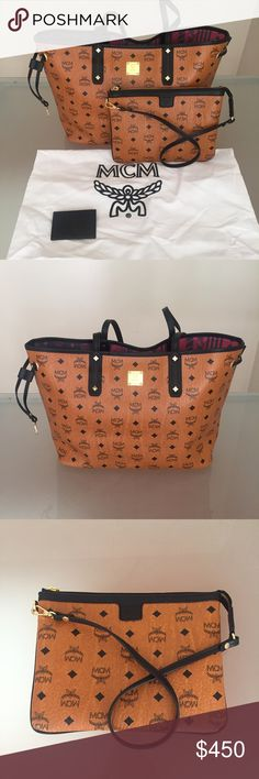 MCM bag cognac brown reversible purse tote handbag authentic. new never been used. size medium MCM Bags Totes