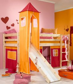 Loft Bed For Kids With Slide As Their Paradise