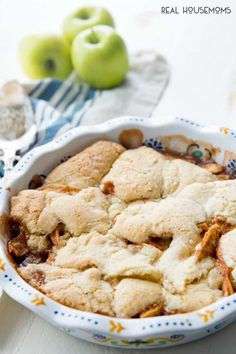 Apple Cobbler in a baking dish, right out of the oven