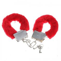 Furry Fluffy Handcuffs Red Fancy Dress Accessories Hen Night Stag Do Play Toy Red Fancy Dress, Party Wholesale, Bachelorette Party Supplies, Hens Night, Red Fur, Fancy Dress Accessories, Metal Casting, Valentines, Valentine's Day
