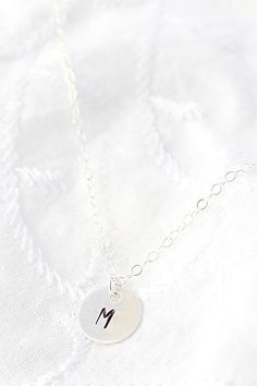 Tiny Initial Necklace Sterling Silver Initial