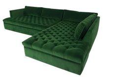 Dream Living Room Sectional - Upper East Side Sectional in Emerald Velvet