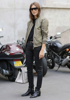 look all black bomber jacket green