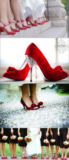 WOW!  Nothing adds that extra ZING like a pair of RED HIGH HEELS!  Simply PERFECT for a Christmas Wedding ... or Valentine Wedding ... or JUST BECAUSE it's what you WANT!!   Kick up a little fun on your special day and GO FOR IT!