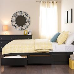 Prepac Sonoma Black Queen Platform Storage Bed with 6 Drawers - BBQ-6200