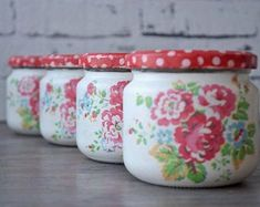 Mason jars - set of four - shabby - romantic - vintage - cottage - Cath Kidston style - flowers Can Storage, Storage Caddy, Shabby Vintage, Etsy Vintage, Red Mason Jars, Recycle Cans, Cath Kidston, Apothecary Jars, Handmade Accessories
