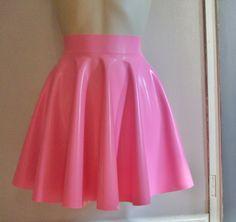 latex rubber pink skater skirt on etsy