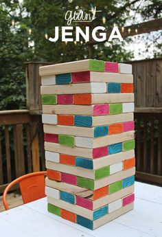 DIY giant wooden Jenga (& other party hacks) Outdoor Party Games, Outdoor Games For Kids, Backyard Games, Outdoor Fun, Outdoor Jenga, Yard Jenga, Outdoor Parties, Outdoor Entertaining, Backyard Carnival