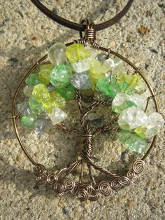 Tree of Life Pendant Necklace, Wire Wrapped, antiqued brass, green, blue, yellow glass