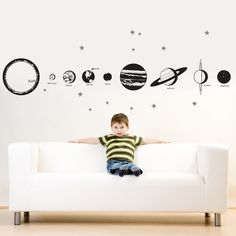 COMPLETE SOLAR SYSTEM Vinyl Decal Graphic by DecoMOD Walls $70.00, via Etsy. 10 feet long, specify up to 4 colors.