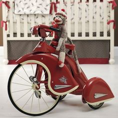 Designer Rooms Retro Sock Monkey Sky King Tricycle In Red at PoshTots Vintage Dolls, Vintage Cars, Retro Vintage, Vintage Style, Electronic Toys, Pedal Cars, Tin Toys, Metal Toys, Vintage Bicycles