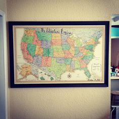 Gift for husband/boyfriend. A huge map of the US (or world) with a pin for every place we've gone together.