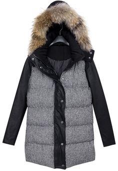 Black Faux Fur Hooded Houndstooth Coat US 49.18 Houndstooth Coat, Plaid  Coat, Hooded Parka 8825a2e7f7