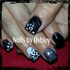 Black white and gray leopard and zebra geek nails