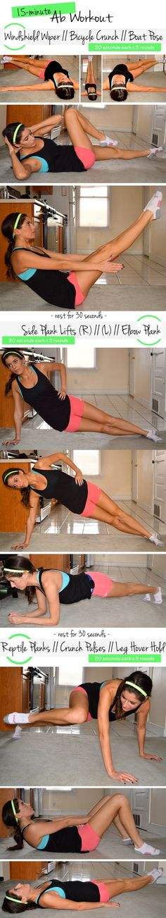 15-minute ab workout. Super challenging and no equipment required.