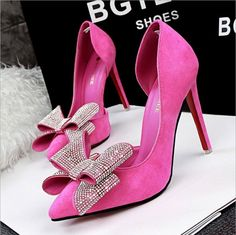 Korean Suede Pointed Toe High Heels Women Hollow Out Bowknot Diamond Pumps Shoes #Unbranded #Stilettos